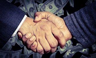 hand shake and money