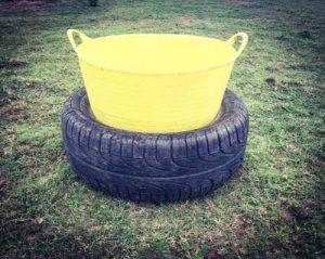 Horse care tips and tricks for feeding - bucket in tyre